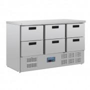 Polar Comptoir Réfrigérée Inox 6 Tiroirs de GN1/1 1370x700x870(h)mm