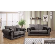 Tango Jumbo Cord 3+2 Full Sofa Set - Black/Grey or Beige/Brown - Grey/Black
