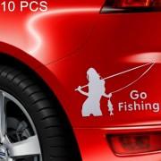 10 stuks schoonheid gaan vissen styling reflecterende auto sticker, grootte: 14cm x 8,5 cm (zilver)
