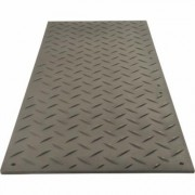 TuffTrak AlturnaMAT Ground Protection Mat - Black, 8ft.L x 3ft.W, Diamond Plate Tread Design, Model AM38