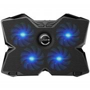 Onloon KOBWA Portátil Cooler Pad De Refrigeración Soporte Ultra Silencioso Gaming Notebook Cooler Para 15.6-17 Pulgadas Portátiles Con 1200 RPM 4 Ventiladores, Dos Puertos USB Y La Opción Multi Ángulo De Inclinación. (Azul)