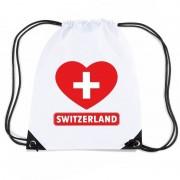 Bellatio Decorations Zwitserland hart vlag nylon rugzak wit