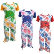 Eazy Trendz Baby Girls Mindblowing Floral Printed Half Sleeve Top Bottom Tshirt and Capri Super Set of 3