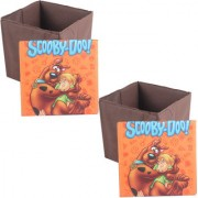 PrettyKrafts Foldable Storage Box Cum Stool - Toy Storage - Polyster Blend Fabric Foldable Organizer Boxes Containers Drawers with Tom Jerry and Scooby Doo Lid - Set of 2 pcs