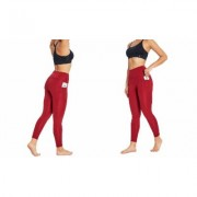 "Women's Bally Total Fitness Bally Fitness High Rise Pocket Ankle Legging 25"""" XL Biking Red"