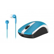 Kit mouse inalámbrico genius MH-8100 y auriculares azules