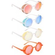 NuVew Round, Shield Sunglasses(Red, Golden, Blue, Yellow, Orange)