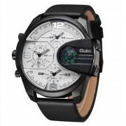 Oulm HP 3790 Reloj de cuarzo para hombre con correa de cuero real - Blanco