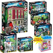 PLAYMOBIL Ghostbusters Mega Set; Includes Firehouse, Ecto-1, Puft Marshmallow Man, Slimer w/ Hot Dog Stand, Venkman & Terror Dogs & Spengler and Ghost w/ FREE BONUS Dimple Ice Cream Building Block Set by DimpleChild