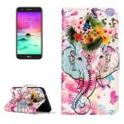 For LG K10 (2017) Gloss Oil Embossed Flower Elephant Pattern Horizontal Flip Leather Case with Holder & Card Slots & Wallet & Photo Frame