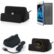 Charge Station D'accueil Base De Chargeur Pour Wiko Fever Special Edition Dock Chargement Micro Usb Desktop Charger Charging Stand Cradle Black - K-S-Trade (Tm)