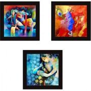 KARTIK wall paintings 3 piece set Radha Krishna wall paintings set of 3 wall paintings for living room with wooden