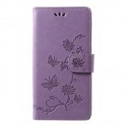 Shop4 - Motorola Moto G7 Plus Hoesje - Wallet Case Bloemen Vlinder Paars