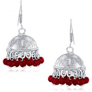 Spargz Embellished Red Bead Oxisidised Silver Long jhumka Earrings For Women AIER 656