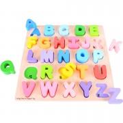 Puzzle din lemn colorat pentru copii - Literele Alfabetului