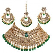 Lucky Jewellery Elegant Designer Green Color Gold Plated Choker Bridal Kundan Stone Drop Necklace With Maang Tikka Set For Girls & Women