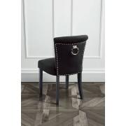 My-Furniture POSITANO gepolsterter Esszimmerstuhl mit Rückenring Schwarzer Samt
