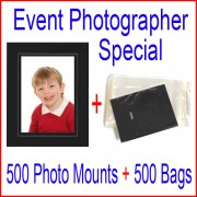 Event Photographer Special - 500 (6x9) Black/Silver Photo Mounts Plus 500 (6x9) Bags