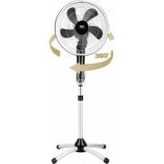 Ventilator cu picior Fakir Prestige VC Rotating 360, 55 W, 3 trepte de viteza, Functie oscilare la 360°, Timer, Telecomanda, Argintiu