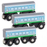 Orbrium Toys 3 Pcs Large Wooden Railway Express Coach Cars, Fits Thomas, Brio, Chuggington