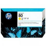 HP Originale DesignJet 1050 C Cartuccia stampante (80 / C 4848 A) giallo, 4,400 pagine, 3.86 cent per pagina, Contenuto: 350 ml