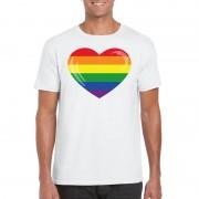 Bellatio Decorations T-shirt met Regenboog vlag in hart wit heren L - Feestshirts