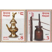 Nepal 2017 Traditional Utensils Kitchen Cuisine Gastronomy Food Stamp Set 2v MNH
