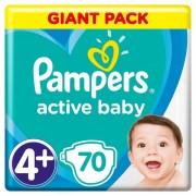 Pampers pelene Active Baby 4+Maxi (9-16kg), 70 kom