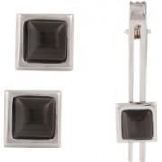 Tripin Brass Cufflink & Tie Pin Set(Black)