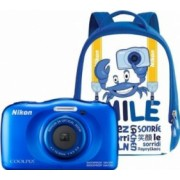Aparat Foto Compact Nikon Coolpix Wateroproof W100 + Backpack Kit Albastru