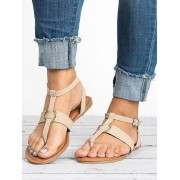 Toepost Pure Color Buckle Sandals