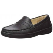 Driver Club USA Unisex Leather Boys/Girls Casual Comfort Slip On Moccasin Penny Loafer Driving Style, Black Grainy 1 M US Little Kid