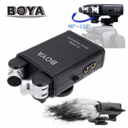 BOYA BY-SM80 Stereo Video Condenser Microphone Mic with Windshield for Canon Nikon DSLR Camera Camcorder