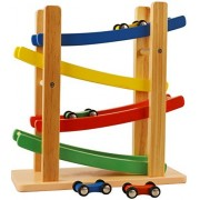 Wooden Car Ramps Race - 4 Level Toy Car Ramp Race Track Includes 4 Wooden Toy Cars - My First Baby Toys - Race Car Ramp Toy Set is A Great Gift for Boys and Girls - Original - by Play22
