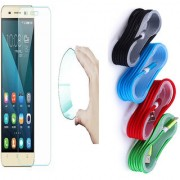 Lenovo Vibe C A2020 03mm Curved Edge HD Flexible Tempered Glass with Nylon Micro USB Cable