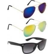 NuVew Aviator, Wayfarer Sunglasses(Black, Blue, Golden)