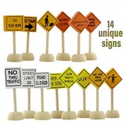 Toy Wooden Road Construction Traffic Sign Set; Compatible w/ Matchbox, Hot Wheels, Other Diecast Vehicles & Wood Cars & Toys