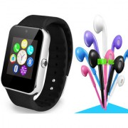 Pro Black Bluetooth GSM Enabled Memory Card Camera Smart Watch with Noise Cancellation Earphones with Mic