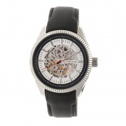Heritor Automatic Desmond Skeleton Dial Leather-Band Watch - Silver/Silver/Black HERHR6601
