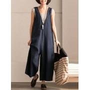 Meco L-5XL Vintage Women Sleeveless Cotton Jumpsuits