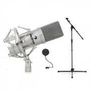 Set microfone Palco & Studio DJ PA com microfone suporte e filtro pop-up prata