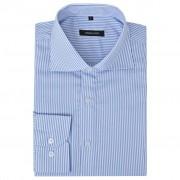vidaXL Zakelijk overhemd heren wit en blauw gestreept maat M