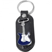 Faynci Fashion Genuine Leather Key Chain with Blue Electric Guitar cool gift for loved one
