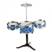 ELECTROPRIME Set of Blue Small Jazz Drum Playset Percussion Musical Instrument for Kids