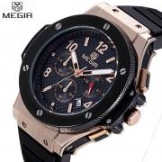 MEGIR Cycling Chronograph Men Sport Watches Men's Quartz Auto Date Clock Top Brand Luxury Man Rose Gold Watches relojes hombre