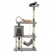 vidaXL Arbre à chat avec griffoirs en sisal 140 cm Gris
