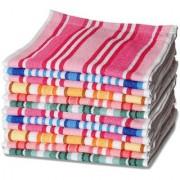 Super Solid Stripe Soft Pure Cotton Sweet Multicolor Face towel / Handkerchiefs For Girls Women - Set Of 6 Pcs.