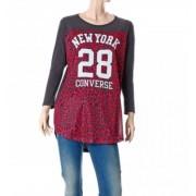 Converse T-shirt donna Authentic Lady Mesh Leopard, Taglia: M, Per adulto Donna, Grigio, 4ID652A