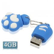 4GB Bear's Paw Shaped Silicone USB 2.0 Flash Disk with Anti Dust Cup (Blue)
