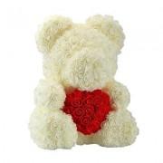 Ursulet trandafiri de spuma cu inima, in cutie cadou cu funda, 40 cm (Culoare bijuterii: White)